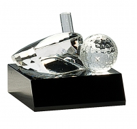 Clear Crystal Golf Ball & Club on Black Pedestal Base