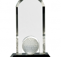 Clear Crystal Dome with Inset Golf Ball on Black Pedestal Base